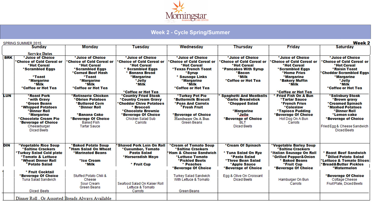 Food services morningstar residential care center for 010 cuisine weekmenu